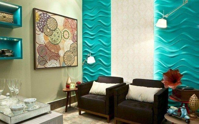 38 salas com grafiato modernas e estilosas decora o de casa. Black Bedroom Furniture Sets. Home Design Ideas
