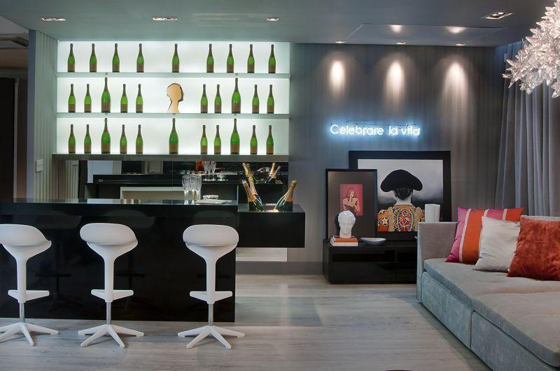Sala Pequena Com Barzinho Moderno ~ Salas com Barzinho Decorado Ideias Surpreendentes! – Decoração de