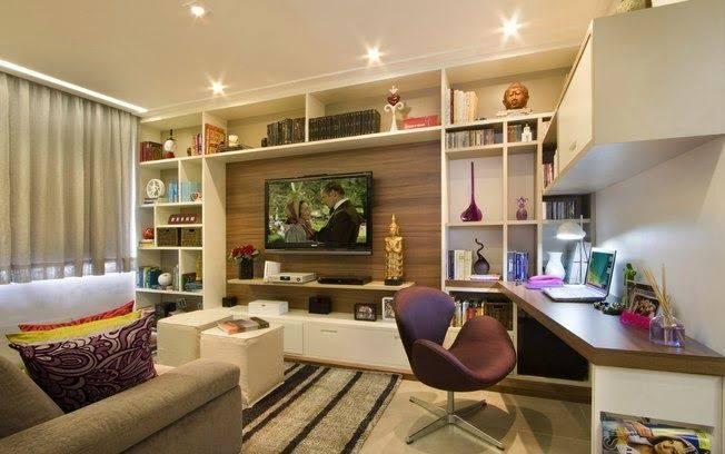 Escrit rios na sala de tv 36 formas de montar e decorar for Idea decorativa sala de estar pequeno espacio