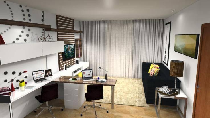 Home Office Em Sala De Estar ~  na Sala de TV 36 Formas de Montar e Decorar – Decoração de Casa