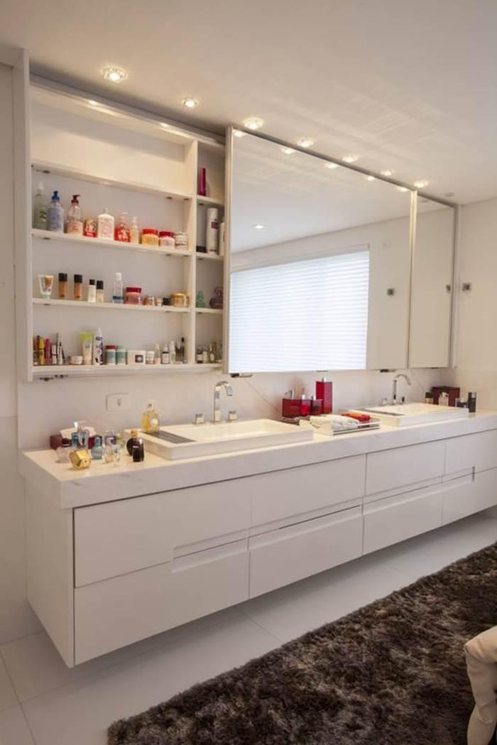 Banheiros Brancos Decorados Lindas Inspirações! – Decoração de Casa -> Decoracao De Sala Banheiro