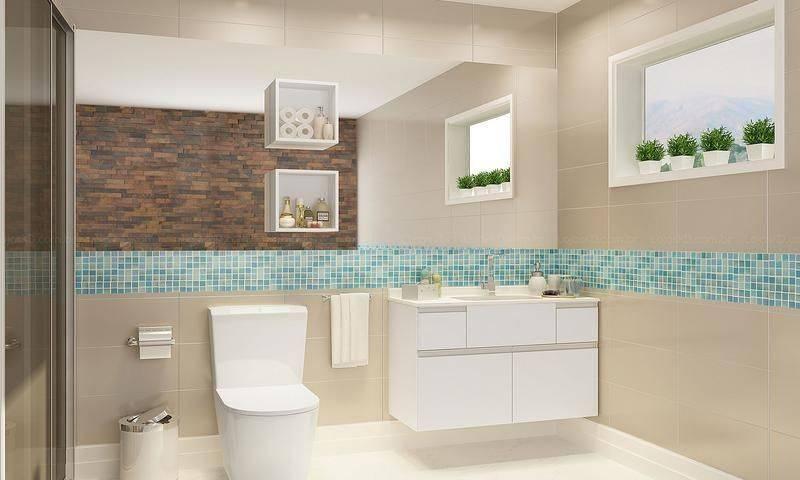 Banheiros com Nichos MDF, Porcelanato e Embutidos – Decoração de Casa -> Nicho Para Box Banheiro Pequeno