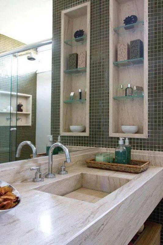 Banheiros com nichos mdf porcelanato e embutidos for Departamentos decorados para hombres