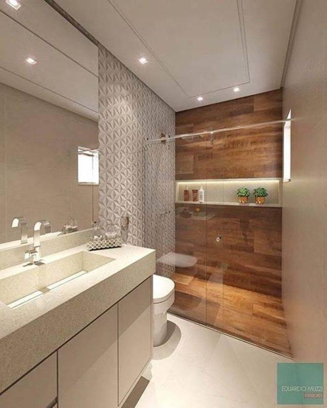 Banheiros com nichos mdf porcelanato e embutidos decora o de casa - Guardar bici en piso pequeno ...