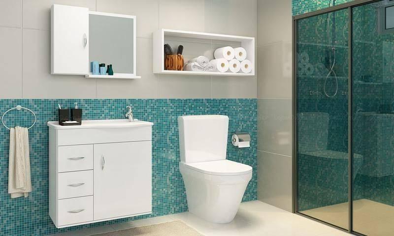 Banheiros com Nichos MDF, Porcelanato e Embutidos – Decoração de Casa -> Banheiro Cm Nicho