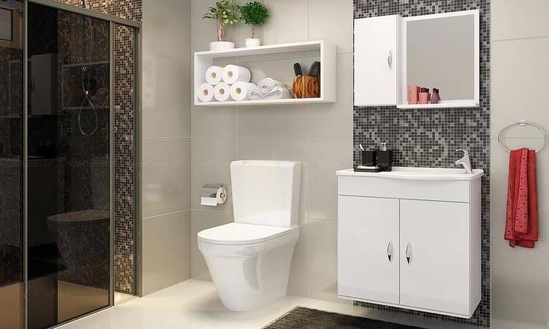 Banheiros com Nichos MDF, Porcelanato e Embutidos – Decoração de Casa -> Decoracao De Banheiro Com Vaso Cinza