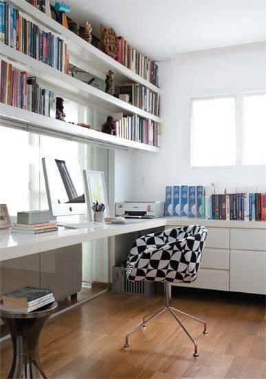 25 modelos de escrit rio com biblioteca decorados for Muebles de escritorio modernos para casa