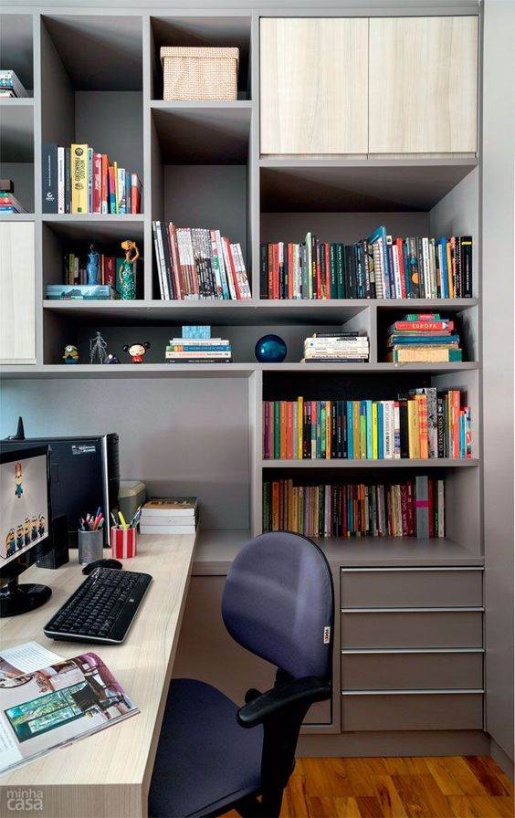25 modelos de escrit rio com biblioteca decorados for Escritorio de abogado