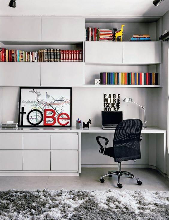 25 modelos de escrit rio com biblioteca decorados - Armarios para sala de estar ...