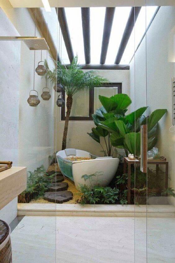 Banheiros com Jardim de Inverno Estilosos