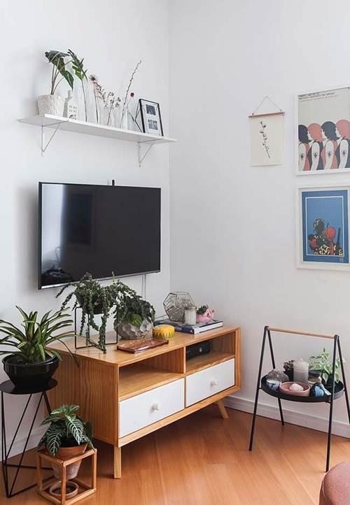+40 Racks para Sala Pequena Modernos e Elegantes! u2013 Decoraç u00e3o de Casa # Decoração Rack Para Sala Pequena